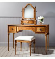 French Finest Ash & Walnut Wood 2 Drawer Dressing Table With Mirror & Stool