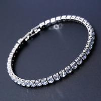 Luxury Tennis Bracelet, Superior Cut 4mm Cubic Zirconia Silver Jewellery