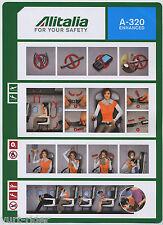 Alitalia A 320 ENHANCED Airline SAFETY CARD - 64502100 rev. 23/11/2010 sc495 aa