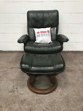 *SUPERIOR Green Leather Ekornes Stressless Chair and Stool L🇬🇧🇬🇧K*
