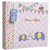 Baby Girl Pink Memo Slip In Photo Album 200 6x4 Photos Elephant Kids -BA-9857