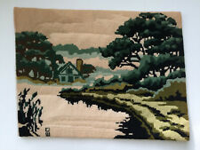 Vtg Completed Cross Stitch 1977 Creative Dimensions Cottage Pond Needlework