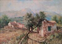 Quadro Dipinto olio su tela firmato Spadini, Paesaggio con montagne e case