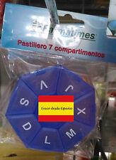 Pastillero hexagonal de 7 compartimentos viaje español