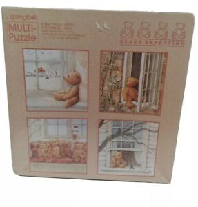 """VTG RARE"" (Springbok (4) Multi-Mini Jigsaw Puzzles 'Bears Repeating' 70 PC/Each"