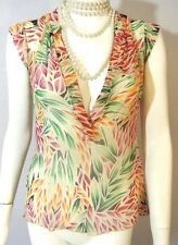 Diana Von Fusenberg silk Blouse top sheer Chiffon 4 Multi color V neck sleevless