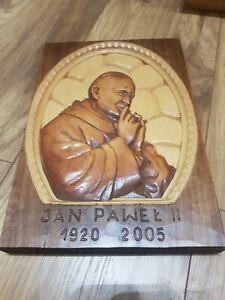 Hand Carved wooden wall plaque Saint pope John Paul II Christian Catholic