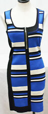 NEW Karen Millen Graphic Stripe Knit Dress Blue Black White Bandage Bodycon Sz 3