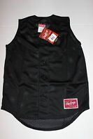NWT BLACK Button front mesh Rawlings YOUTH Med sleeveless Baseball Jersey Blank
