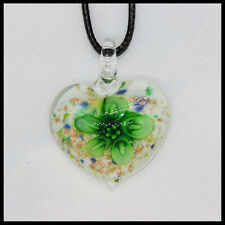 Fashion Women's heart lampwork Murano art glass beaded pendant necklace #A13