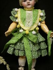 """AdorableRuffle Green Dress –Antique style for 17-18"""" French and German doll –D13"""