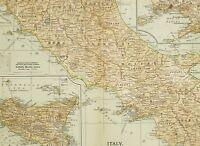 1903 Ancien Carte Italie Central & Sud Molise Abruzzi Sicile Naples Messina