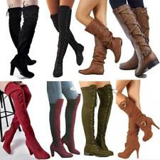 Womens Winter Boots Mid Calf Over the Knee/Thigh High Stretch Lace Up Zip Shoes