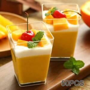 50pcs Square Plastic Dessert Cups Mini Cubes 2oz/60ml Strong Cup Party Decor UK
