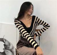 Sexy Women Deep V Neck Stripes Long Sleeve Short Crop Slim Knit Shirt Blouse Top