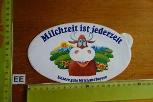Alter Aufkleber Landwirtschaft MILCHZEIT IST JEDERZEIT Bayern Kuh