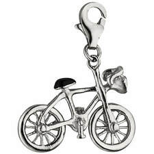 Pendant Bicycle Charm Bangle 925 Silver with Varnish Deposit Black and White
