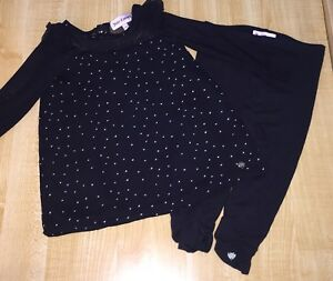 USED JUICY COUTURE 2 PIECE OUTFIT GIRLS 12 18 MONTHS BLACK POLKA DOT GOLD LOGO