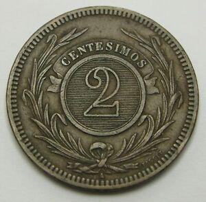 URUGUAY 2 Centesimos 1869 A - Bronze - VF- - 2041