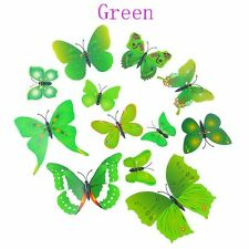 12 Pcs Party Supplies Home Butterfly Artificial Wire 3d Cake Topper Green