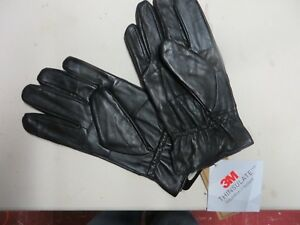 Mens Black Soft Leather Gloves 40 Gram 3M Thinsulate Insulation