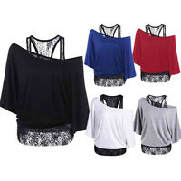 Women Lace Loose Long Sleeve Tops Bat-like Blouse Off-shoulder Shirt Plus Size