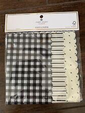 Sugar Paper Tissue Paper Black Scallop Checkerd Stripes Polka Dot 25 Sheets