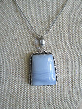 ~ Natural Blue Lace Agate Gemstone Pendant & Silver Plated Chain ~ Jewellery ~