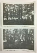 2 Vintage Abstract Snapshot Photographs Ghostly Indian Figures in Park 1950s