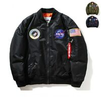Nasa Bomber Jacket Mens Women Pilot MA1 Coat Flight Air Force Baseball H-Q