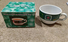 Home for the Holidays Soup Mug/Cup-Porcelain-White/Green-Christmas/Winter-New!