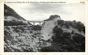Unposted 1915-30 PC Mt Andreson & Bridge Rim o' World Drive San Bernardino Co CA