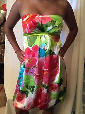 CACHE Sleeveless Lined 100% Silk Floral Dress Size 4 PRE OWNED