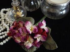 VELVET MILLINERY FLOWERS - BUNCH OF BURGUNDY , PINK & CREAM VIOLAS