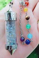 Labradorite stone Bottle Chakra Pendulum Prism Magic Wand Energy Reiki Healing