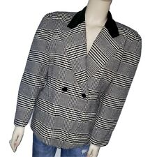 Escada Margaretha Ley Womens 42 Black White Plaid Vintage Blazer Wool Velvet