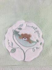 Kidsline Green Sweet Pea Bear Baby Blanket Plush Soft Kids Line