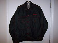 VINTAGE PHAT FARM BLACK DENIM 90'S HIP HOP JACKET SIZE LARGE WITH RED STITCHING