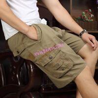 Summer Mens Leisure Shorts Pants Fifth Cotton Beach Loose Cargo Trousers XL-5XL
