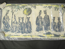 Asian Batik Fabric Art 16x32 Ancient Chinese Villagers Standing with Fans
