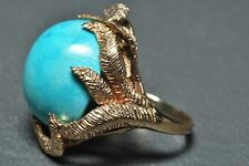 Vintage Blue Cabochon Turquoise Solitaire 14K Yellow Gold Leaf Cocktail Ring