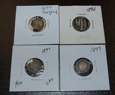 Canada Queen Victoria 5 Cent Silver Coins - 1874 (Crosslet 4), 1896, 1897, 1899