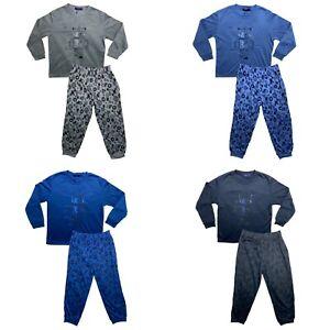 Boys Kids Pyjamas Long Sleeve Top Bottom Set Nightwear PJs Cotton Robot New 4-14