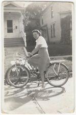 1946 Woman on Cool Bike with Basket Snapshot