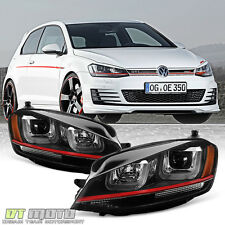 2015-2017 VW Golf/GTI VII MK7 LED Tube DRL Projector Headlights w/ Red Trim Set