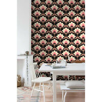 Vintage floral Removable wallpaper pink and brown wall mural design