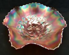 "Carnival Glass Dugan Cosmos Variant 9"" Ruffled Bowl Marigold - No chips"
