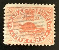 Canada Stamps. SC 15. 1859. Used. **COMBINED SHIPPING**