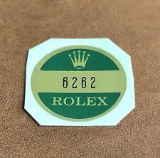 Rolex 6262 acciaio fondello Adesivo certificato Daytona Cosmograph Paul Newman OEM