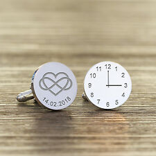 Personalised Silver Plated Heart Infinity Wedding Time & Date Cufflinks